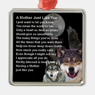 Mother Poem - Wolf Design Silver-Colored Square Decoration