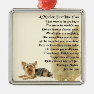 Mother Poem -  Yorkshire Terrier Design Silver-Colored Square Decoration