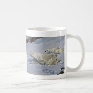 Mother Polar Bear and Cubs Basic White Mug