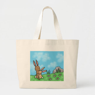 Mother Rabbit and Baby Bunny hug Canvas Bags