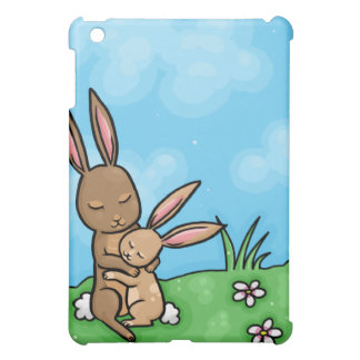 Mother Rabbit and Baby Bunny hug Cover For The iPad Mini