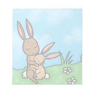 Mother Rabbit and Baby Bunny hug Notepad