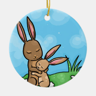 Mother Rabbit and Baby Bunny hug Round Ceramic Decoration