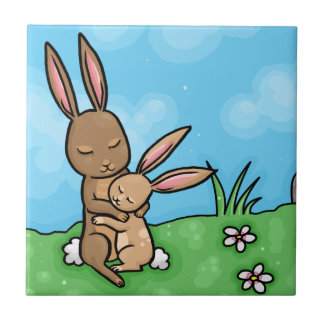 Mother Rabbit and Baby Bunny hug Tile