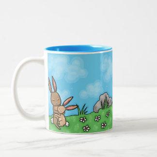 Mother Rabbit and Baby Bunny hug Two-Tone Coffee Mug
