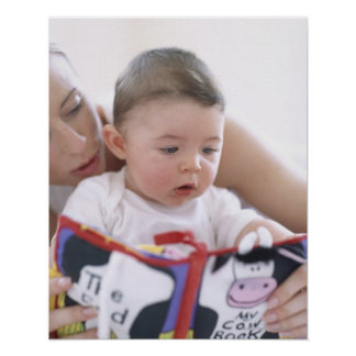 Mother reading to baby boy. Faces of a mother Poster