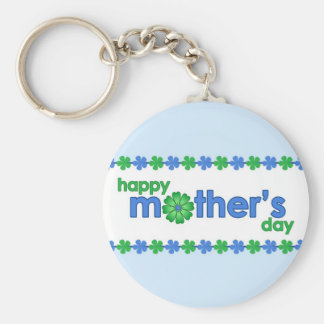 Mother's Day Blue Spring Flowers Keychain