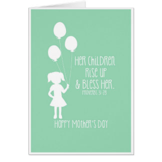 Mother s Day Card Bible Verse Girl Silhouette