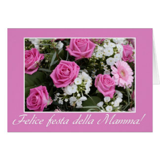 Mother s day card pink rose bouquet italian