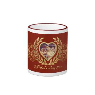Mother's Day Heart Photo Frame Ringer Mug