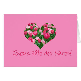 mother s day pink tulip hearts card french