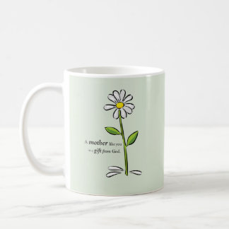 Mother's Day Religious Green Daisy Flower Coffee Mug