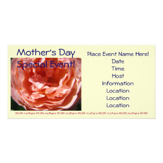 Mother s Day Special Event Pink Rose invitations Customized Photo Card