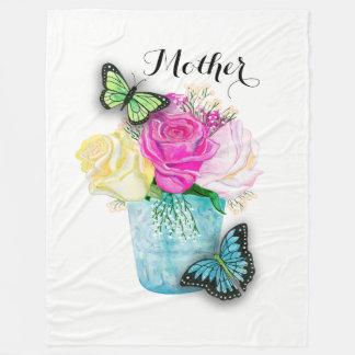 Mother's Day Spring Roses in Vase with Butterflies Fleece Blanket