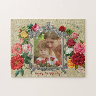 Mother's Day Sweet Roses Fancy Baroque Photo Frame Puzzles