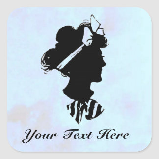 Mother s Day Vintage Woman Silhouette on Blue Square Sticker