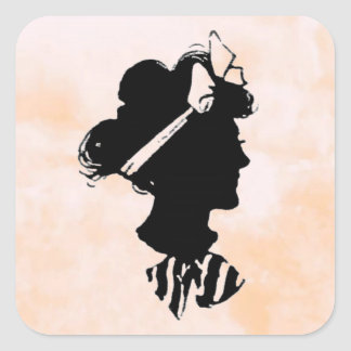 Mother s Day Vintage Woman Silhouette Square Stickers