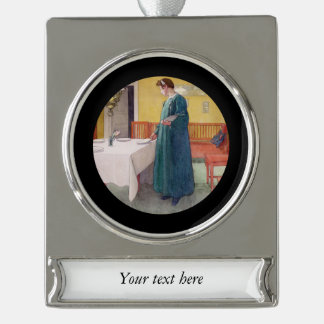 Mother Setting the Table Silver Plated Banner Ornament