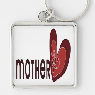 Mother Silver-Colored Square Key Ring