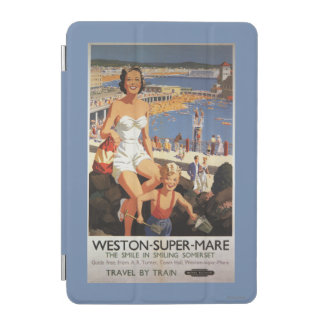 Mother & Son on Beach Railway Poster iPad Mini Cover