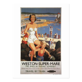 Mother & Son on Beach Railway Poster Postcard