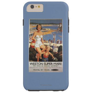 Mother & Son on Beach Railway Poster Tough iPhone 6 Plus Case