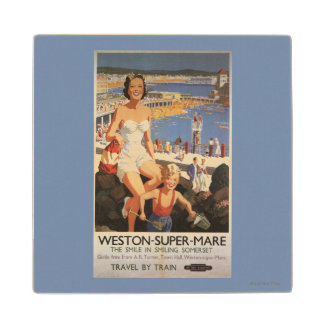 Mother & Son on Beach Railway Poster Wood Coaster