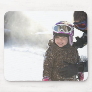 Mother Teaching Daughter To Snowboard Mouse Pad