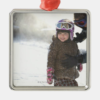 Mother Teaching Daughter To Snowboard Silver-Colored Square Decoration