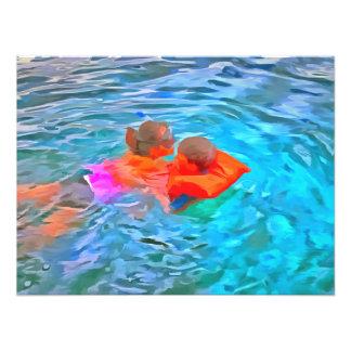 Mother teaching swimming art photo