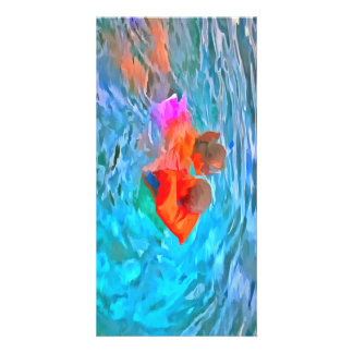 Mother teaching swimming picture card