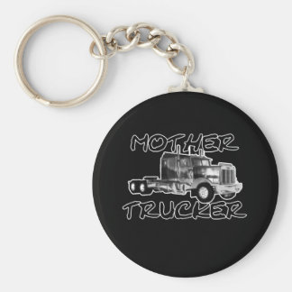 MOTHER TRUCKER - BLACK & WHITE BASIC ROUND BUTTON KEY RING