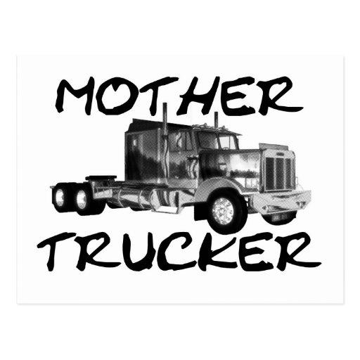 MOTHER TRUCKER - BLACK & WHITE POST CARD