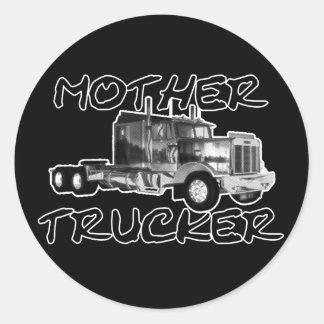 MOTHER TRUCKER - BLACK & WHITE ROUND STICKER