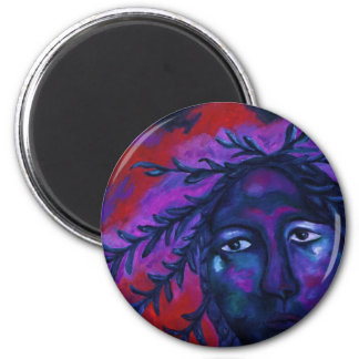 Mother Watching All – Crimson & Violet Compassion 6 Cm Round Magnet