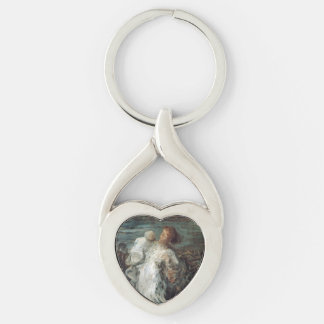 """Mother with Child"" art key chain Silver-Colored Twisted Heart Key Ring"
