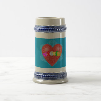 Mother with Doily Heart Mug and Kids Names