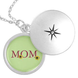 """Mother"" with Sunflowers Silver Plated Necklace"