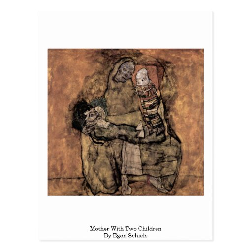 Mother With Two Children By Egon Schiele Postcard