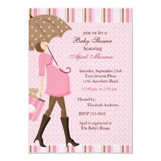 Mother with Umbrella Baby Shower Invitation