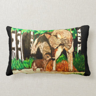 MOTHER WOLF AND CUB pillow