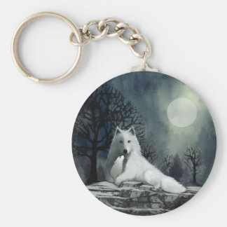 Mother Wolf and Pup Snuggle Basic Round Button Key Ring
