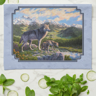 Mother Wolf and Pups Sky Blue Tea Towel