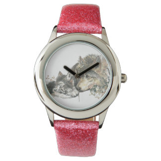 Mother Wolf & cubs Nature Animal Art Wristwatches