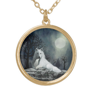 Mother Wolf with Puppy Gold Plated Necklace