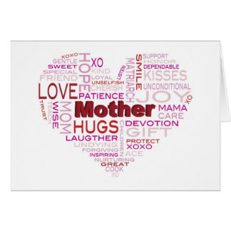 Mother Word Cloud in Heart Shape Greeting Card
