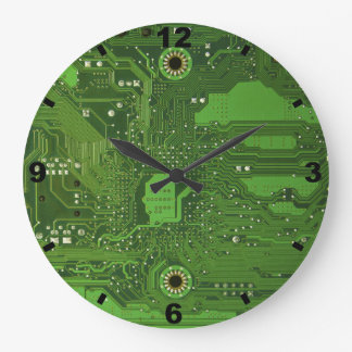 MOTHERBOARD GREEN Large Round Clock