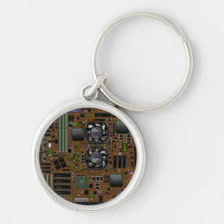 Motherboard Silver-Colored Round Key Ring