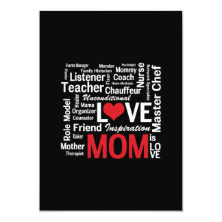 """Motherhood - All the Amazing Things Mothers Do 5"""" X 7"""" Invitation Card"""