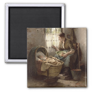 Motherly Affection (oil on canvas) Square Magnet
